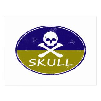 skull retro design postcard