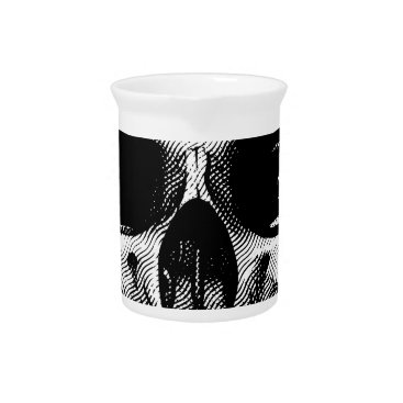 Skull Retro Style Drawing Beverage Pitcher
