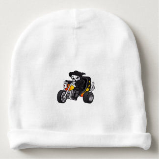 skull ride a big tricycle baby beanie