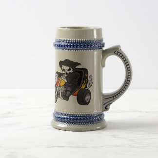 skull ride a big tricycle beer stein