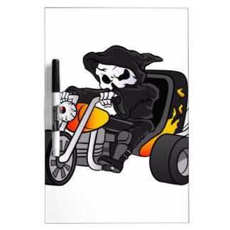 skull ride a big tricycle dry erase board
