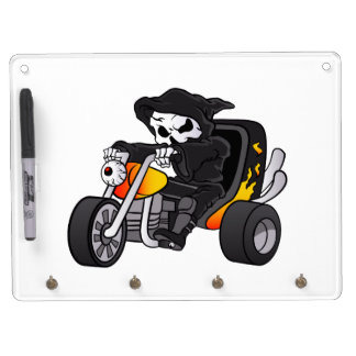 skull ride a big tricycle dry erase board with keychain holder