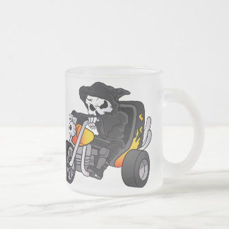 skull ride a big tricycle frosted glass coffee mug