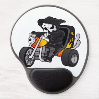 skull ride a big tricycle gel mouse pad