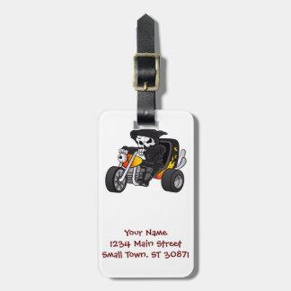skull ride a big tricycle luggage tag