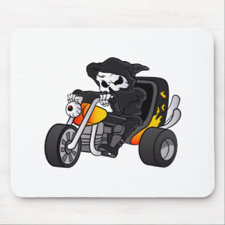 skull ride a big tricycle mouse pad