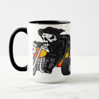 skull ride a big tricycle mug