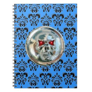 SKULL RIDERS DAMASK black white blue Notebook