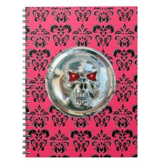 SKULL RIDERS DAMASK black white pink Notebook
