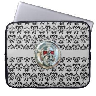 SKULL RIDERS DAMASK grey black electronicsbag
