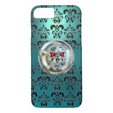 Halloween Themed SKULL RIDERS TEAL TURQUOISE BLUE DAMASK red black iPhone 8/7 Case
