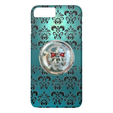 Halloween Themed SKULL RIDERS TEAL TURQUOISE BLUE DAMASK red black iPhone 8 Plus/7 Plus Case