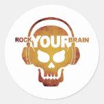 Skull-Rock-03 Pegatina Redonda