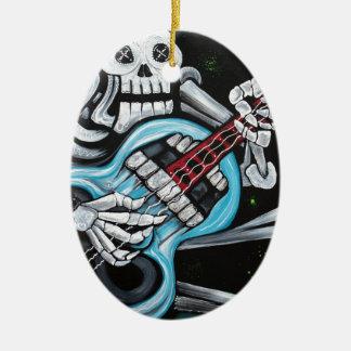 Skull Rock Guitar Ceramic Ornament