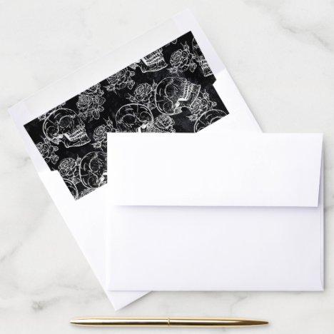 Skull Rose Chalk   Funky Black Gothic White Grunge Envelope Liner