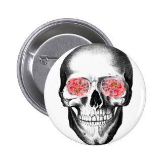 Skull Rose Glasses Flower Skeleton Pink Tinted Button