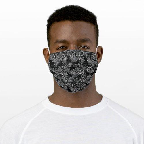 Skull Rose  Gothic Black and White Chalk Grunge Cloth Face Mask