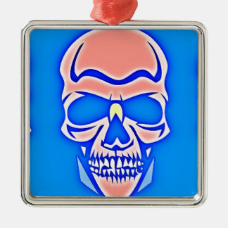 Skull Rose in blue fund Metal Ornament