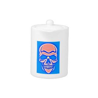 Skull Rose in blue fund Teapot
