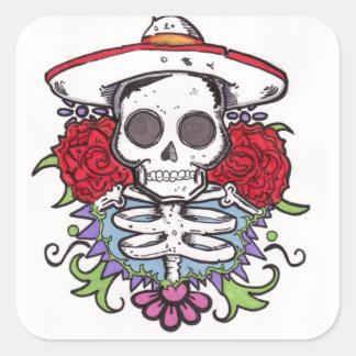Skull rose square sticker