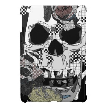 Halloween Themed Skull Roses Checks Art Image iPad Mini Covers
