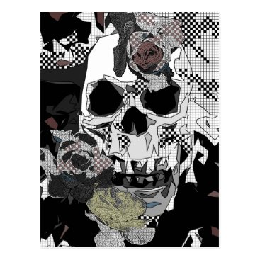 Halloween Themed Skull Roses Checks Art Image Postcard