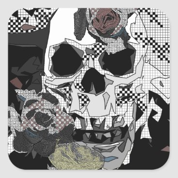 Halloween Themed Skull Roses Checks Art Image Square Sticker