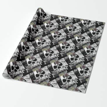 Halloween Themed Skull Roses Checks Art Image Wrapping Paper