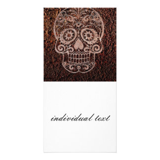 Skull,rusty metal 04 customized photo card