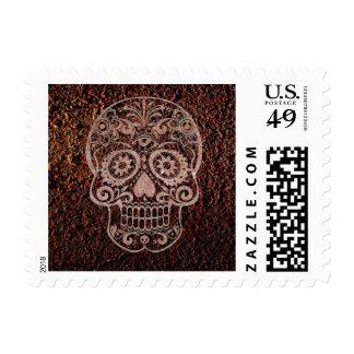 Skull rusty metal 04 postage stamp