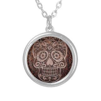 Skull,rusty metal,04 round pendant necklace