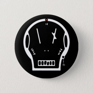 """Skull says: """"love is pain"""" pinback button"""