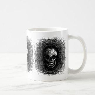 Skull Scratch Black White Mug