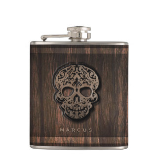 Skull Scroll on Faux Wood Textured Background Flask
