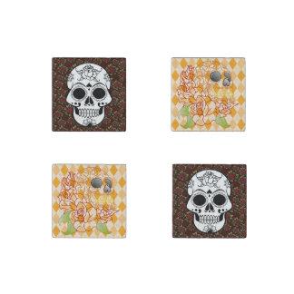 Skull Set of magnets Retro roses yellow argyle
