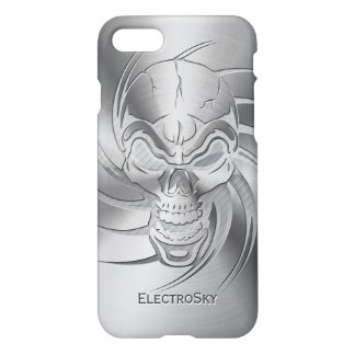 Skull Shape on Brushed Steel iPhone 7 Case