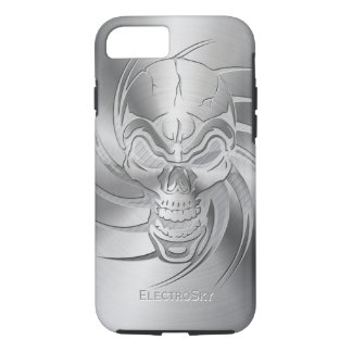 Skull Shape Print on Brushed Steel iPhone 7 Case