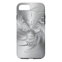 Skull Shape Print on Brushed Steel iPhone 8/7 Case