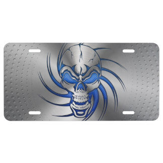 Skull Shape Print on Brushed Steel License Plate