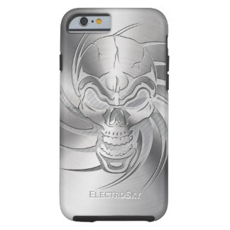 Skull Shape Print on Brushed Steel Tough iPhone 6 Case