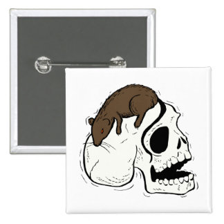 skull side brown rat graphic pins