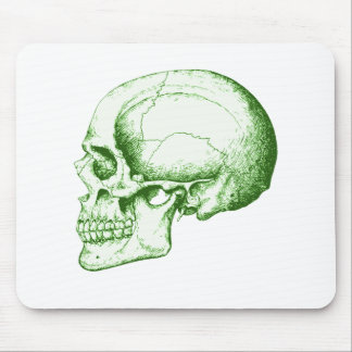Skull Side Green Mouse Pad
