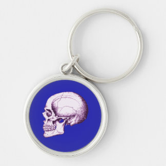Skull Side Purple Silver-Colored Round Keychain
