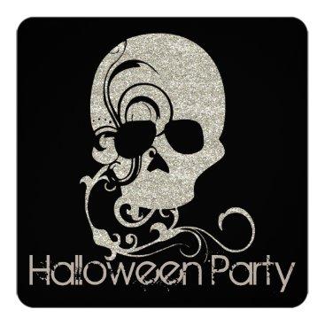 Halloween Themed Skull Silver Glitter Look Halloween Party Invite