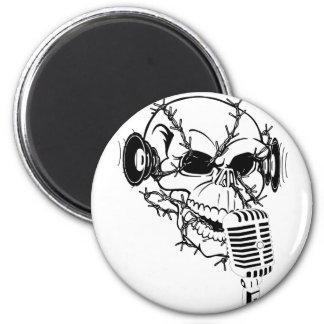 Skull Singing Americana Customizable 2 Inch Round Magnet