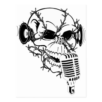 Skull Singing Americana Customizable Postcard