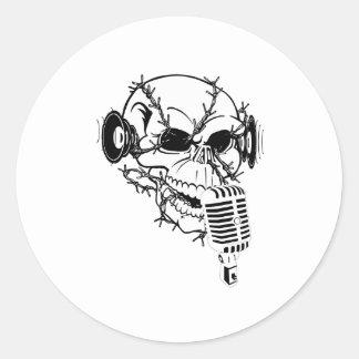 Skull Singing Americana Customizable Round Stickers