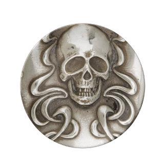 Skull Skeleton Death Goth Antique Silver Plate