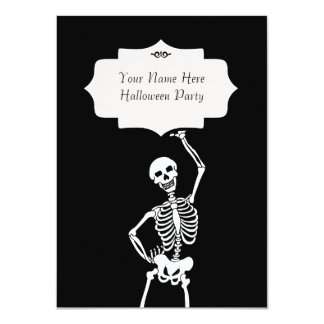 Skull & Skeleton Halloween 4.5x6.25 Paper Invitation Card