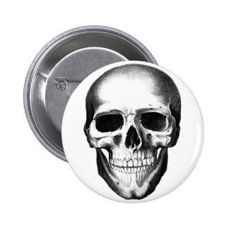 Skull Skeleton Head Scary Creepy Halloween Pinback Button
